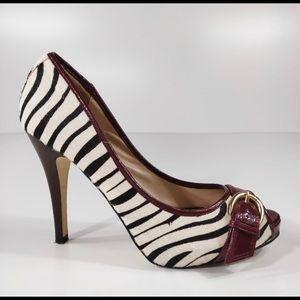 Steve Madden Zebra Hair Peep Toe Heels 7.5